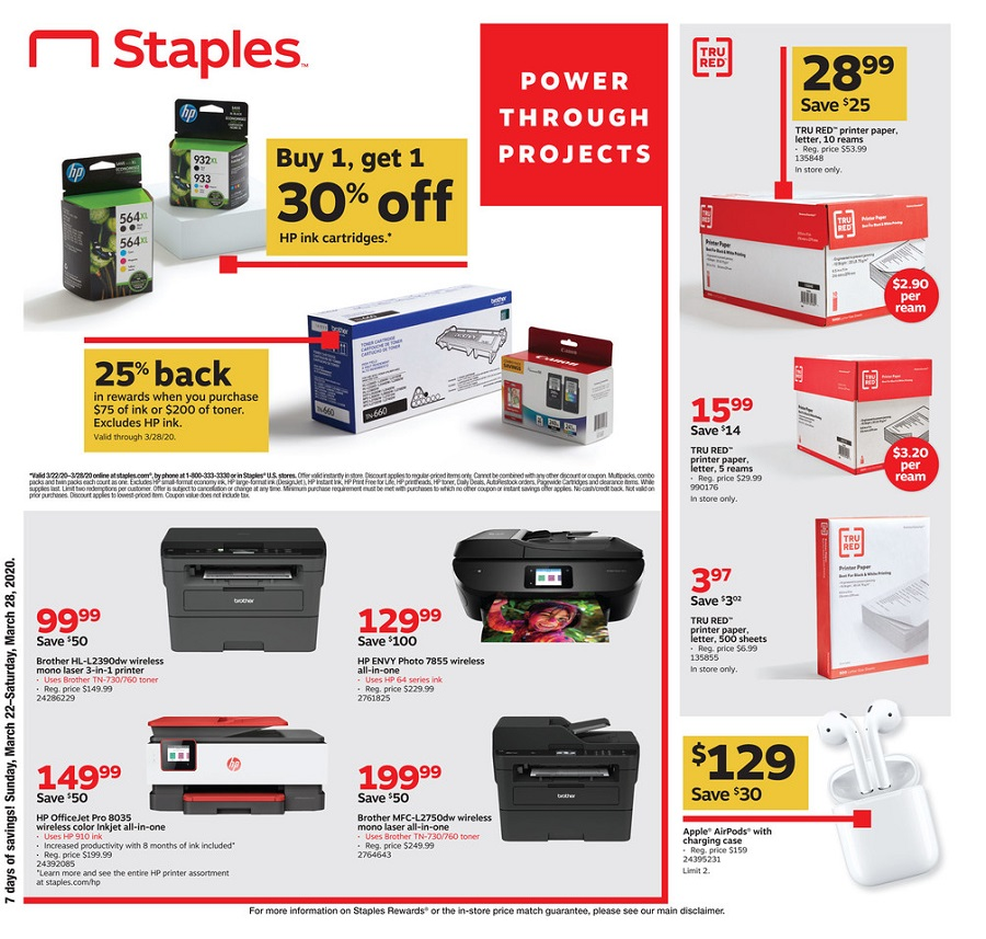 Staples Weekly Circular page 1
